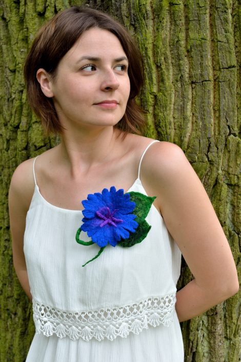Felted blue flower brooch for women