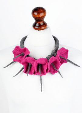 Felted flower necklace