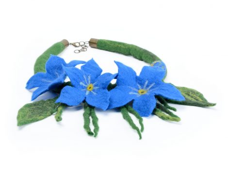Felted forget-me-not necklace