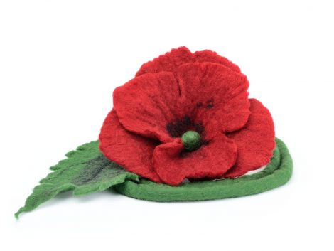 Felted necklace with red poppy