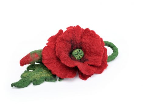 Felted poppy brooch