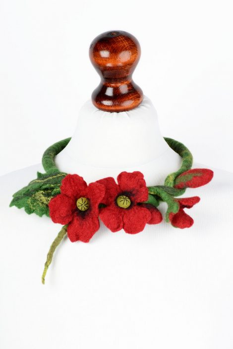 Felted poppy necklace