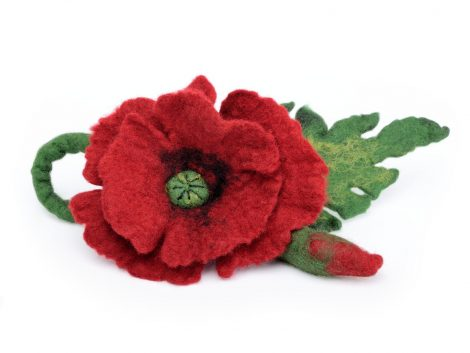 Felted red poppy brooch