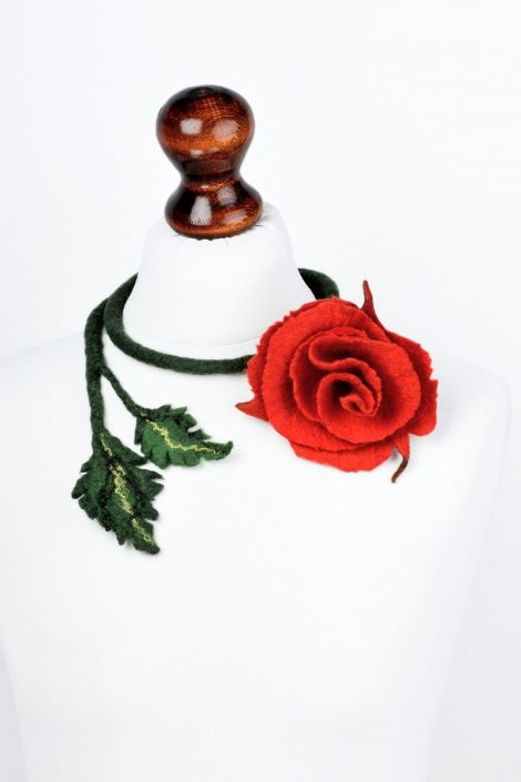 Felted rose necklace