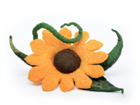 Felted sunflower brooch