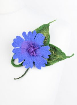 Felted wool brooch in blue