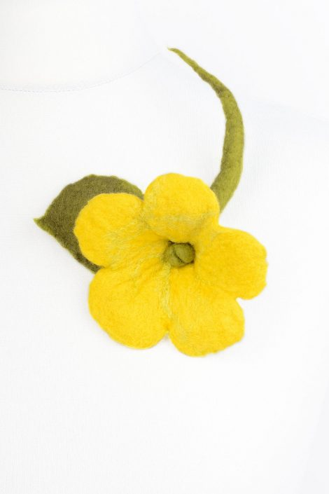 Fiber flower brooch