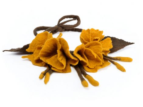 Gypsy felt necklace with flowers