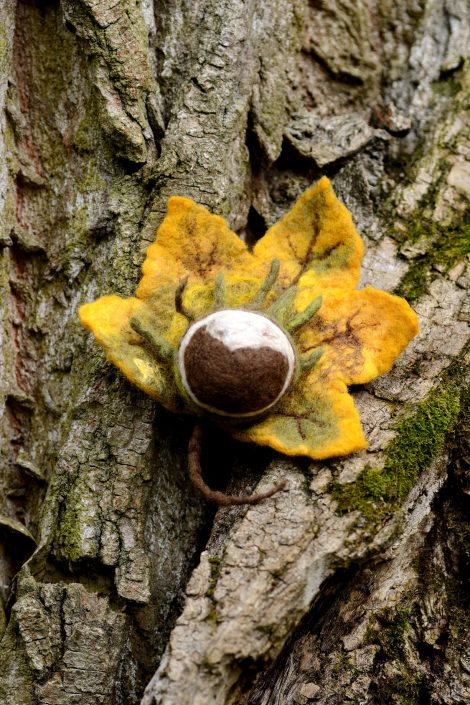 Autumn brooch with felted chestnut