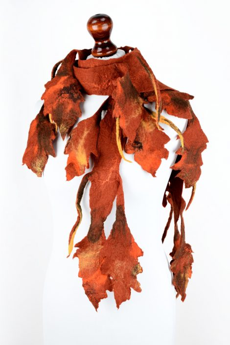 Felt fall scarf with leaves