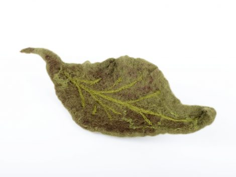 Felt leaf brooch