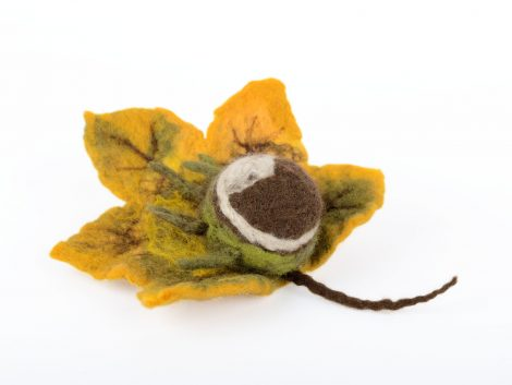 Felted autumn brooch with leaf and chestnut