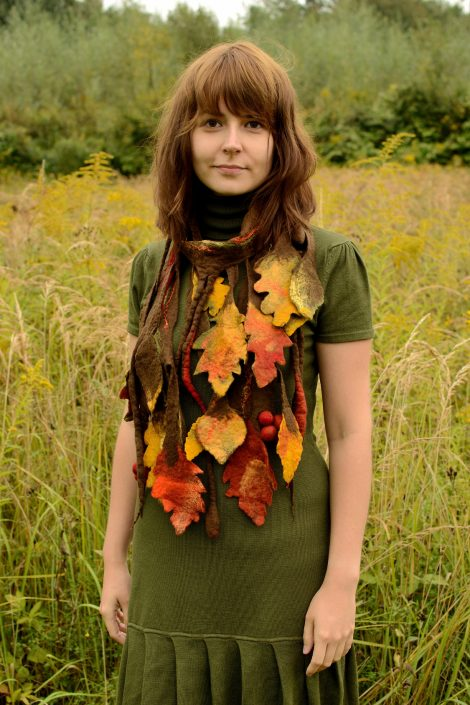 Felted autumn scarf