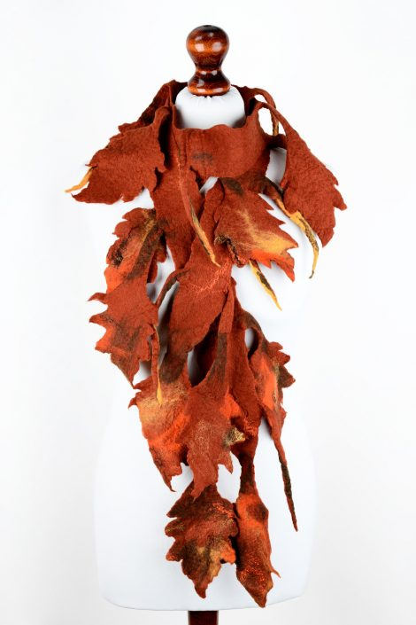 Felted autumn scarf with leaves