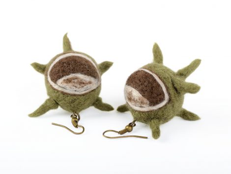 Felted chestnut earrings for autumn