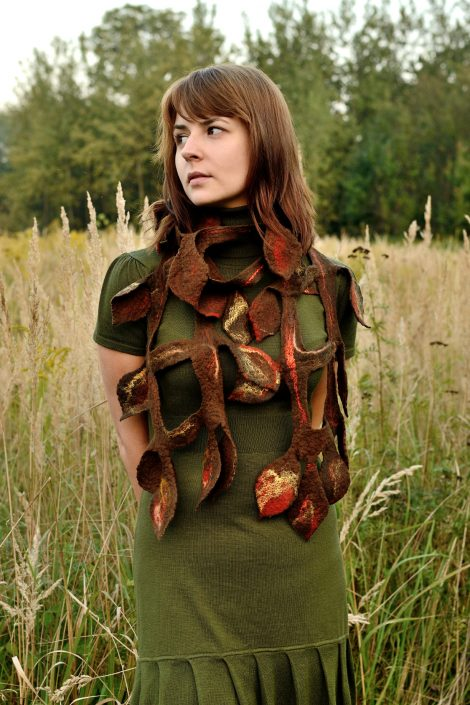 Felted fall scarf with leaves