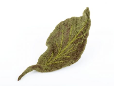 Felted leaf brooch