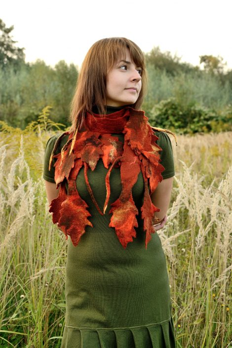 Felted scarf for fall with russet leaves