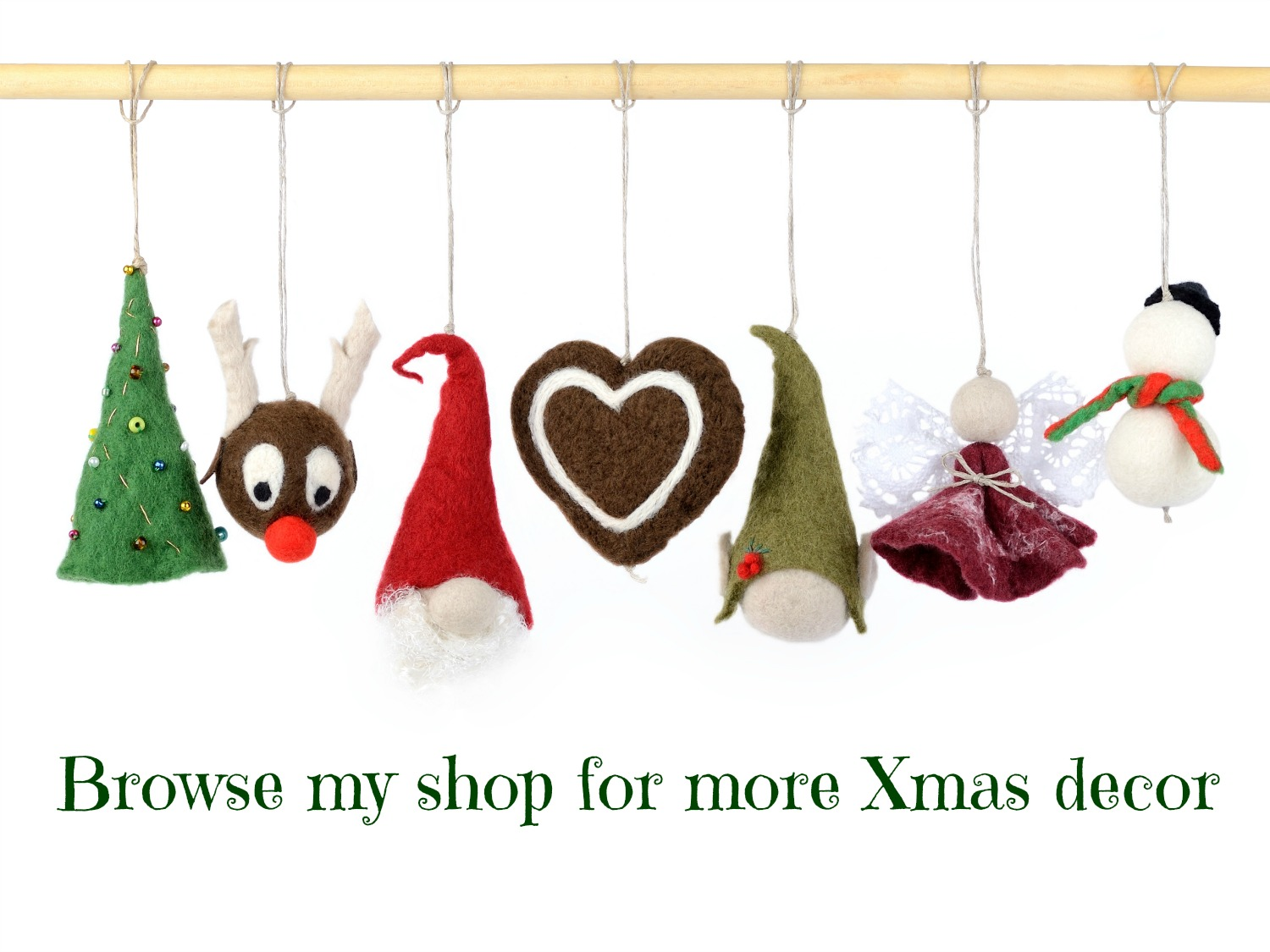 felted christmas decorations - Hanging Christmas Decorations