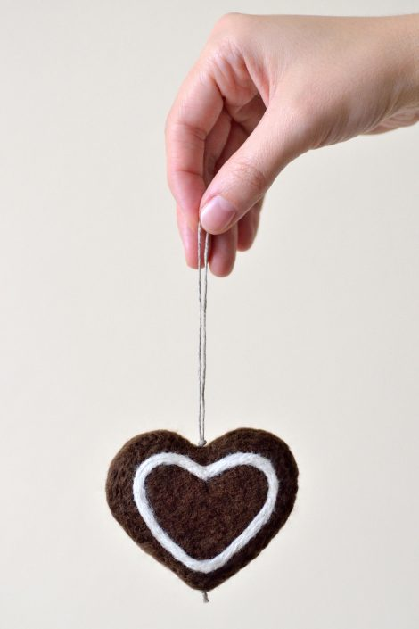 Felted gingerbread heart to hang on a Christmas tree