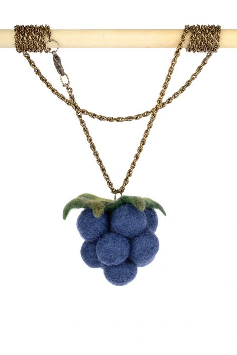 Blackberry pendant with large felted fruit