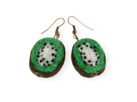 Felt kiwi earrings
