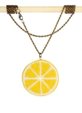 Felt lemon pendant on a long chain