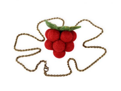 Felt raspberry pendant on a chain