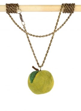 Felted apple pendant in kawaii style