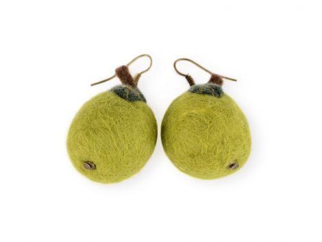 Felted earrings in the shape of green apples
