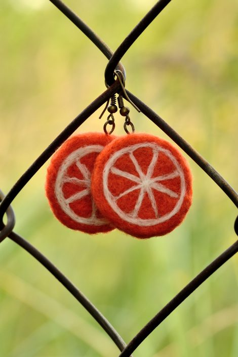 Felted orange earrings