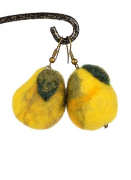 Felted pear earrings