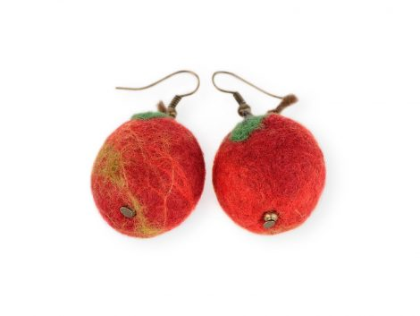 Felted red apple earrings