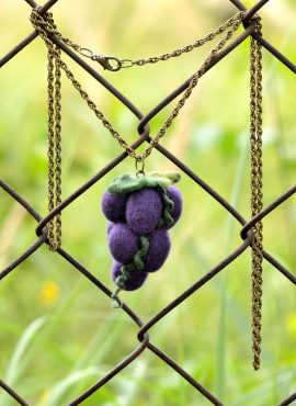 Large grape pendant with needle felted fruits