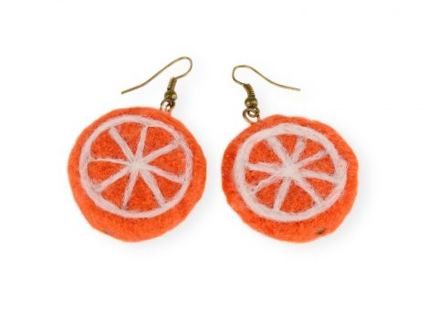 Orange slice earrings - felted citrus jewelry