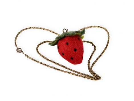 Real size strawberry pendant in kawaii style