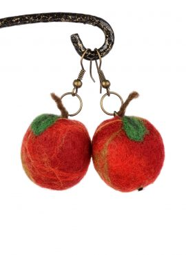 Red apple earrings in kawaii style