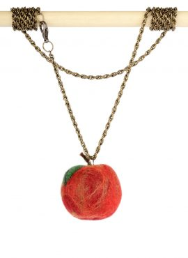 Red apple pendant on a chain