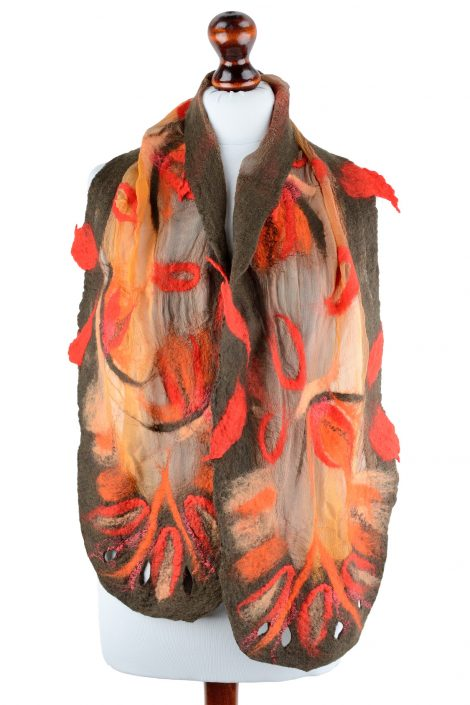 Brown nuno felted scarf