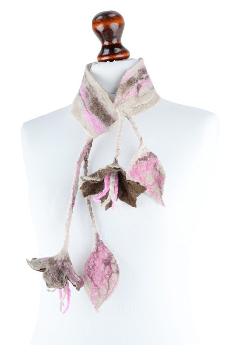 Flower scarflette in beige