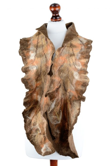 Long nuno felt scarf for women in earth tones