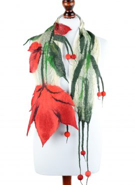 Nuno felt scarf with red tulip flower