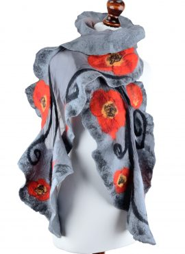 Nuno felted poppy shawl for women