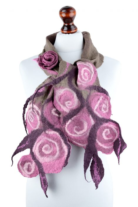 Nuno felted scarf for women with pink roses