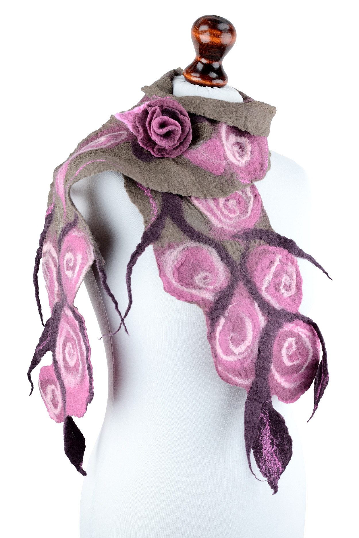 Nuno Felt Rose Scarf In Retro Style With Pink Feminine Flowers