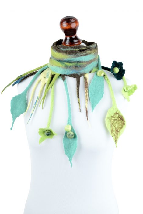 Nuno felt fairy scarf with green fringe