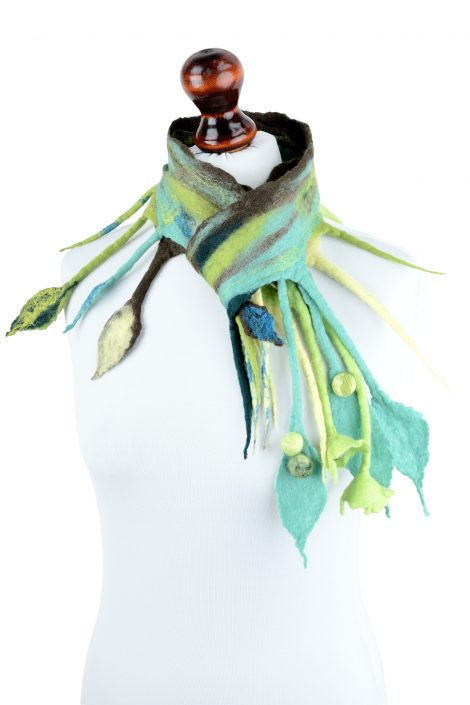 Nuno felt magical scarf with jadeite fringe