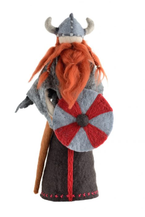Collectible viking figurine made in felting technique