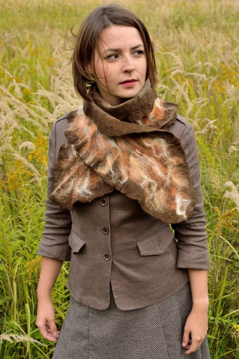 Brown autumn scarf - nuno felt