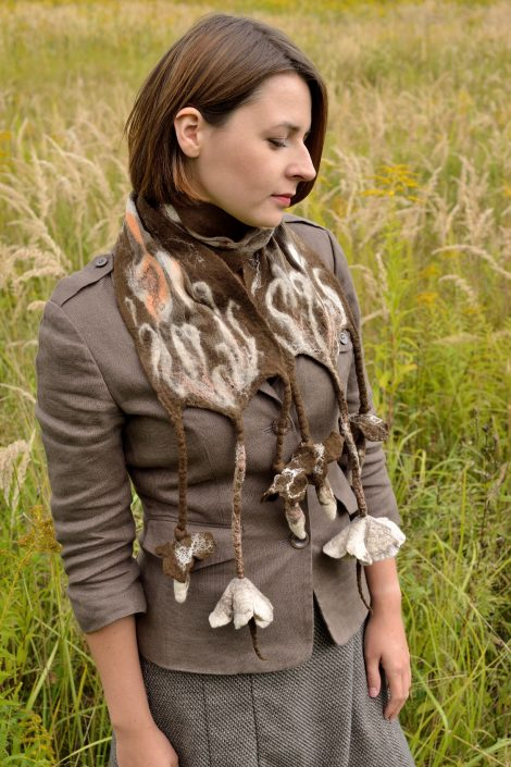 Brown nuno felt scarf for autumn